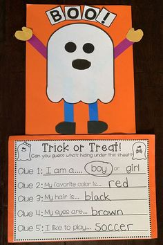 Halloween is here! My TK students loved making this trick-or-treating ghost craftivity! Perfect for a writing activity or even just a fall/halloween craft for Pre-K, Preschool, Transitional Kindergarten, or kindergarten! Halloween Books, Halloween Crafts For Kids, Halloween Crafts Kindergarten, Fall Halloween, Halloween Party, Halloween Labels, Halloween Halloween, Halloween Pumpkins, Kindergarten Art Projects
