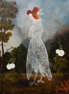 Birdgirl by Anne Siems 40 x 30, on panel