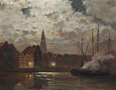 Amsterdam by moonlight, C. F. Ahl. Dutch 19th Century
