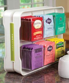 White Teastand Tea Bag Organizer