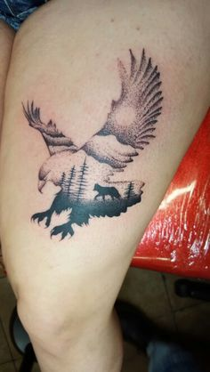 My wolf and eagle tattoo
