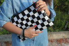 DIY Bolso de cuero damero / DIY black and white leather bag