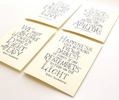 Harry Potter quote card, Albus Dumbledore Quotes, happiness can be found...thinking of you card set of 4 on Etsy, $13.00