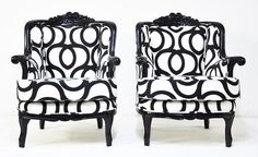 I have two chairs similar in design.  I want to paint like these two and change out the fabric.