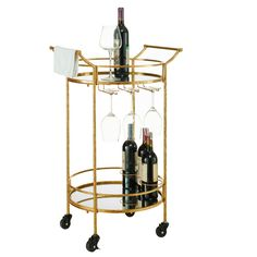 Impress your friends with this elegant, vintage chic round gold metal bar cart with handles and mirrored tops.