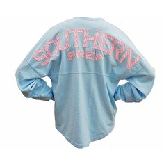 southern prep seersucker long sleeve spirit jersey ($48) ❤ liked on Polyvore featuring tops, shirts, jackets, outerwear, blue jersey, long sleeve tops, blue long sleeve shirt, blue long sleeve top and oversized tops