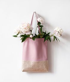 FREE SHIP WEEK Peony Pink And Gold Leather Tote bag by CORIUMI