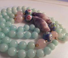 Antique Vintage Chinese Carved Amethyst Blue Jade Rose Quartz Bead Necklace