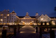 Disney Resort Hotels, Disney's Yacht Club & Disney's Beach Club Resorts - Exterior At Night - Disney's Yacht Club Resort, Walt Disney World Resort