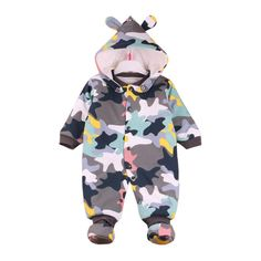 Kehen Newborn Baby Boy Girl Cotton Cow Fleece Camouflage Hooded Romper Warm Thick Tracksuit Outfits (Camouflage, 3-6 Months). Cute baby boy long sleeve camouflage hoodies rompers bodysuits zip front clothing,fashion and fit on your little baby. The fabric is warm, perfectly suitable for the cold days in autumn and winter. Perfect for playing outside, birthday party, baby photography, family day or any occasions. Suitable for infant baby girls/boys within 12 months. Package include:1PC…