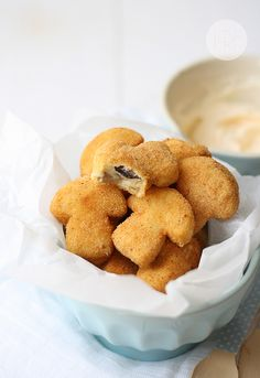 croquetas de setas - mushroom croquettes - ignore the fact that a mushroom shaped cookie cutter was used in prep