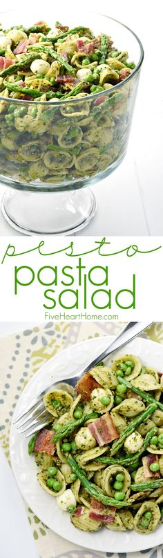Pesto Pasta Salad ~ studded with bright green asparagus, sweet peas, decadent bacon, and fresh pearls of mozzarella, this pasta salad is a flavorful side dish or light dinner, perfect for spring and summer celebrations! | FiveHeartHome.com