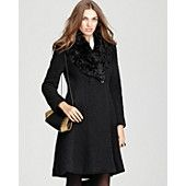 Dawn Levy Jackie Boucle Knit Coat with Fur Trim