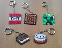 Unofficial Minecraft Inspired Large Keyring. Made from Hama Beads