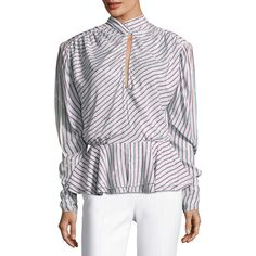 Balenciaga Striped Satin Keyhole Top ($1,515) ❤ liked on Polyvore featuring tops, white pattern, women's apparel tops, white ruched top, long-sleeve peplum top, long sleeve tops, ruched long sleeve top and peplum tops