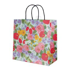 Folk Roses Gift Bag LargeFolk Roses Gift Bag Large with stunning roses on a pale green background. Beautiful gift bag for any celebration Size: 280 x 280mm x 140mm when open Black raffia carry handlesCards and Gift Wrap