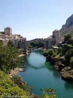 Stari Most (Old Bridge) and the Neretva River that flows under it - Mostar, Bosnia and Herzegovina.