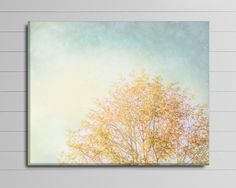 Yellow and Gray Canvas, Minimalist Tree Photograph, Blue and Gold Art, Bedroom Wall Decor, Big Nature Photography, Fall Tree