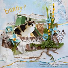 Escape Kitty - Surprise!  Is this the Easter Bunny? - Scraps of Elegance, CSI #13 - Scrapbook.com      This artist is AMAZING and THAT'S MY CAT answering the door!!