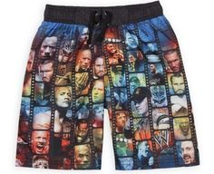 This listing is for one Brand New Boy's WWE Swim Trunks shorts. Trunks have pictures of John Cena, Rey Mysterio, Triple H, The Rock, CM Punk and Randy Orton on them. Trunks have protection to help prevent sunburns. Color is Blue. Wwe Shirts, Boys Swim Trunks, Cm Punk, Brock Lesnar, John Cena, Wwe Wrestlers, Swim Shorts, The Rock, Brand New