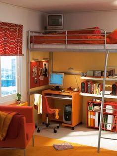 Decoracion Diseño: Decorar dormitorios juveniles con camas elevadas para habitaciones con poco espacio
