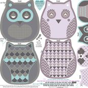 owls family cut and sew template