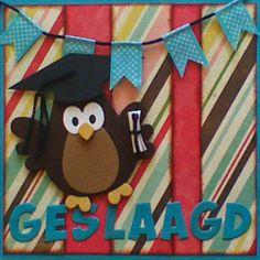 Marjoleine's blog: Deze uilenkaarten zijn vandaag gemaakt tijdens de aanschuifworkshop. Geslaagd kaart. Owl Card, Owl Punch, Marianne Design, Graduation Cards, Stamping Up, Diy Cards, Projects To Try, Card Making, Scrap