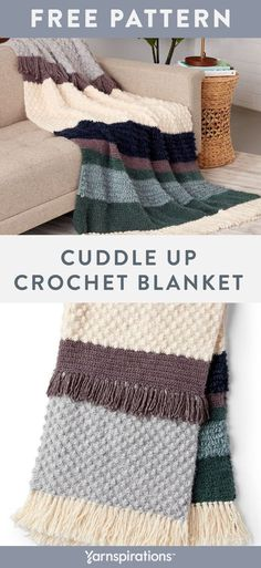 Free Cuddle Up Crochet Blanket pattern using Red Heart Hygge yarn. Easy textures, simple stripes and fluttery fringe come together in harmony to create this cuddly crochet blanket. Practice a combination of textural crochet stitches to create your new favorite blanket! #yarnspirations #freecrochetpattern #crochetblanket #cozyblanket #crochetthrow #texturedblanket #redheartyarns #redheartyarn #redhearthygge #hyggeyrn