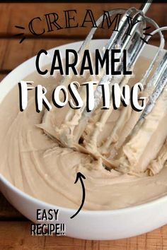 This homemade caramel fosting is courtesy of my great-grandma, Olga! It's a rich, creamy, old-school caramel frosting you'll love! #homemadefrosting #caramelfrosting Cookie Desserts, Gluten Free Desserts, Fun Desserts, Dessert Recipes, Party Recipes, Cake Recipes, Caramel Frosting, Butter Frosting, Buttercream Frosting