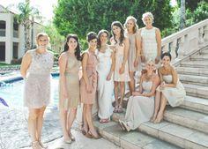 neutral bm dresses, all different