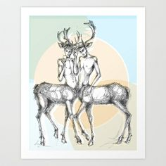 2 deer-boys, one is wearing a cap, the other is taking a selfie with his smartphone Art Print Promoters - $14.56