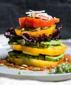 heirloom tomato + avocado + zucchini stacks with a tomato almond pesto — whats cooking good looking