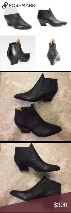 """Acne Alma Black Leather Ankle Boot Bootie Sz 8 Pull-on style. Smooth black leather with elastic gore sides. Padded insole. Leather lining and sole. 2 1/2"""" stacked heel. Made in Italy. Excellent pre-owned condition. Very minor creasing on the front and a little dirt on the soles. European size 38 which equates to a US size 8 based on the Acne size chart. Acne Shoes Ankle Boots & Booties"""