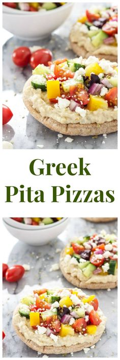 Greek Pita Pizzas | Super healthy, vegetarian pizzas with all your favorite Greek flavors! | www.reciperunner.com
