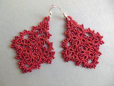 Rojo encaje pendientes de cordón joyería de tatted lace soy