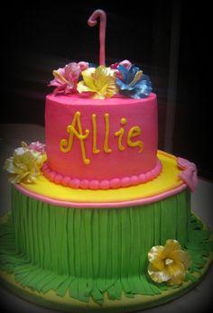1st birthday luau cake