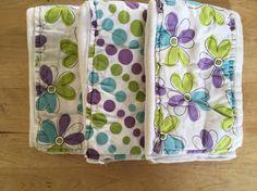Purple cloth diaper burp cloth set