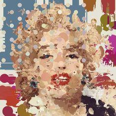 'M&M' (V) : Marilyn Monroe Spot Painting - Limited Editions - Big Fat Arts | BFA Gallery | Czar Catstick - 1