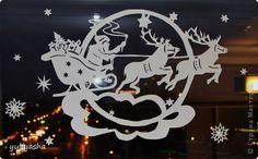 Декор предметов Новый год Аппликация Новогодние окна   Бумага фото 10