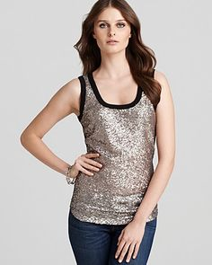 Karen Kane Sequin Front Tank   90% of  products are made in the USA