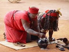 iSangoma. Outside of Durban in South-Africa . Zulu traditional medicines (or umuthi) have changed very little over the ages.
