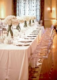 A line of classic white hydrangea centerpieces from The French Bouquet mixed with clear acrylic ghost chairs gives a modern feel to Mayo Hotel ballroom! Photo by Amanda Watson Photography All White Wedding, My Perfect Wedding, Plan My Wedding, Wedding Prep, Wedding Ideas, Wedding Decor, Wedding Inspiration, White Hydrangea Centerpieces, Wedding Centerpieces