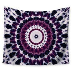 """Purple Geometric Iris Lehnhardt Batik Pattern Wall Tapestry (51""""x60"""") - Kess InHouse, Green"""