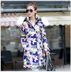 New Women Coat Winter Goose Down Jacket Parka Flower Pattern Outdoor Snow Outwear Fur Hoodie