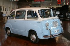 1963 Fiat 600 Multipla. Seats six . White and Blue .