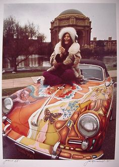 Janis Joplin and her psychedelic, customised Porsche Cabriolet. See more about Janis Joplin, Porsche and Porsche