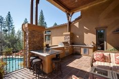 Beautiful outdoor kitchen and pool