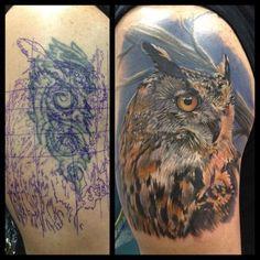 Owl cover up by InkAddict sponsored artist Phil Garcia Cover Up Tattoos, New Tattoos, I Tattoo, Cool Tattoos, Berlin, Kunst Tattoos, Human Art, Tattoo Artists, Watercolor Tattoo