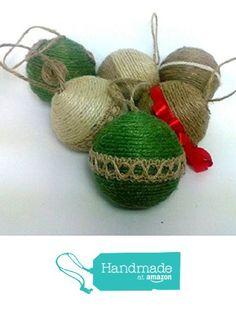 Set of 6 Jute Wrapped Hanging Christmas Ornaments from HomeDarling http://www.amazon.com/dp/B015EJ0SGW/ref=hnd_sw_r_pi_dp_O2Pfwb07GDRNT #handmadeatamazon