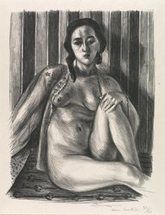 Henri Matisse (1869-1954), Seated nude woman, with tulle blouse, 1925. lithograph, 44.5 x 31.5 cm